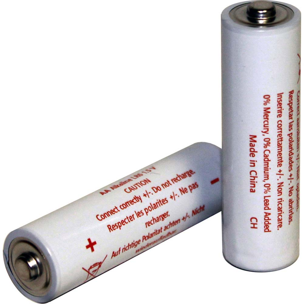 Two AA White Alkaline Batteries - View #1