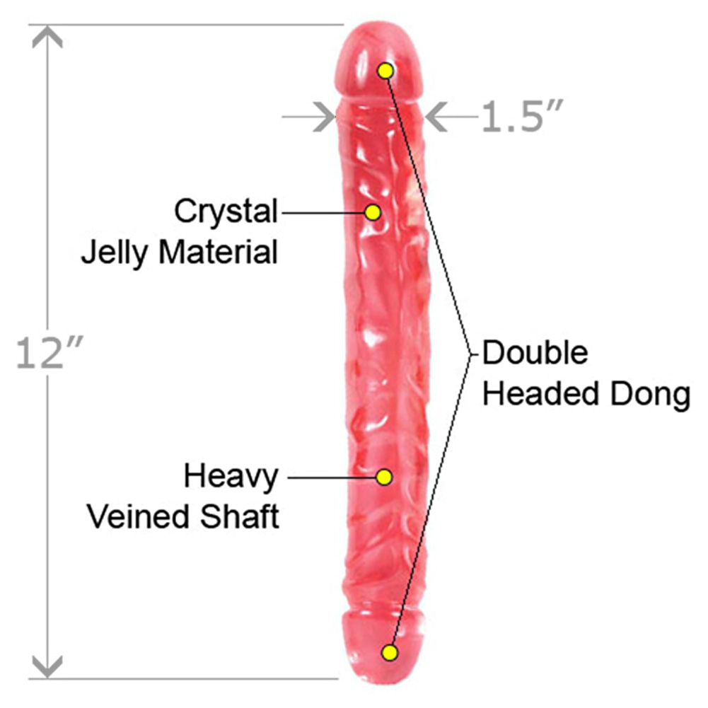"Doc Johnson Crystal Jellies Jr. Double Dong 12"" Pink - View #1"