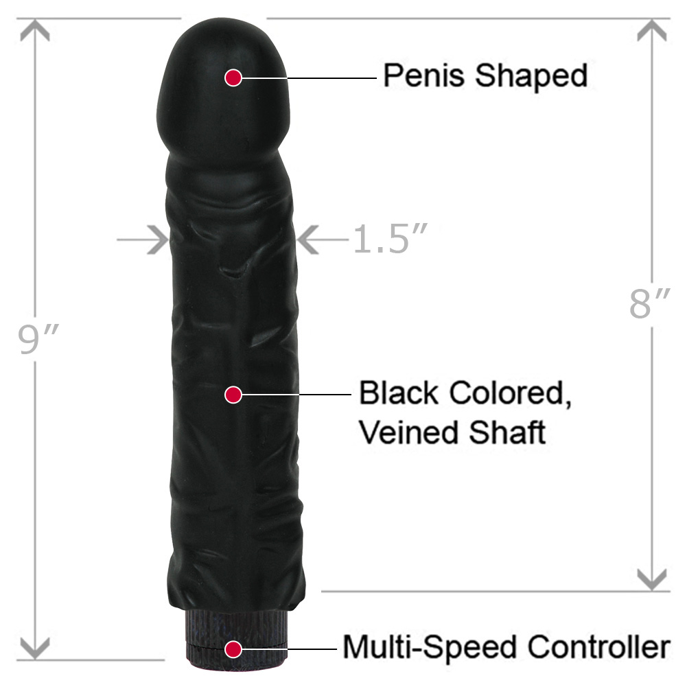 "Doc Johnson Quivering Cock Intimate Vibrator with Sleeve 8"" Black - View #1"