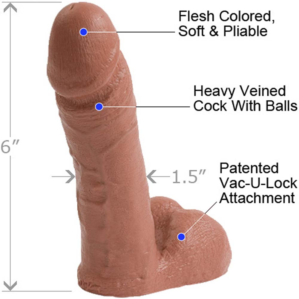"Vac-U-Lock Realistic Cock with Balls 6"" Cinnamon - View #1"