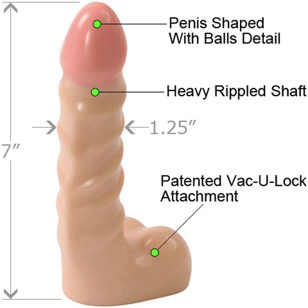 "Vac-U-Lock Raging Hard-On Cock with Balls 7"" Natural - View #1"