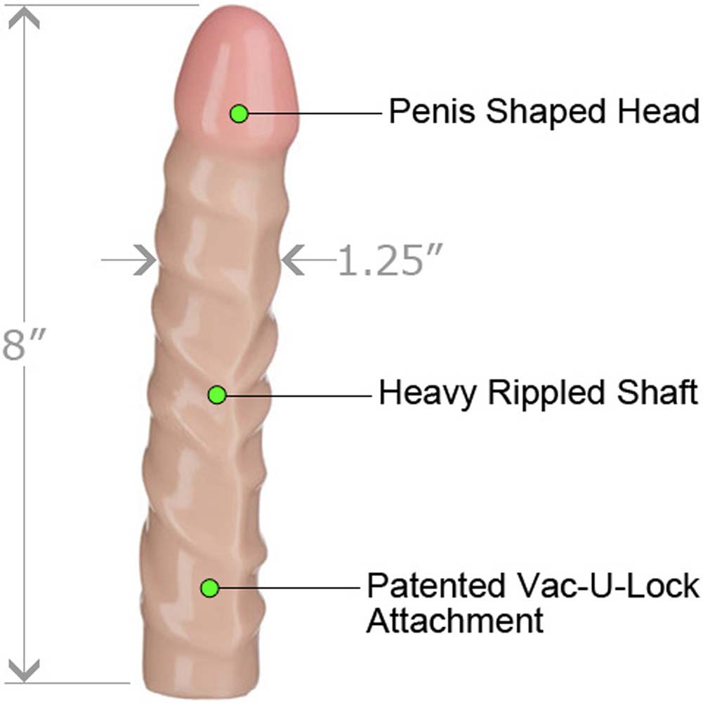 "Vac-U-Lock Raging Hard-On Cock 8"" Natural - View #1"