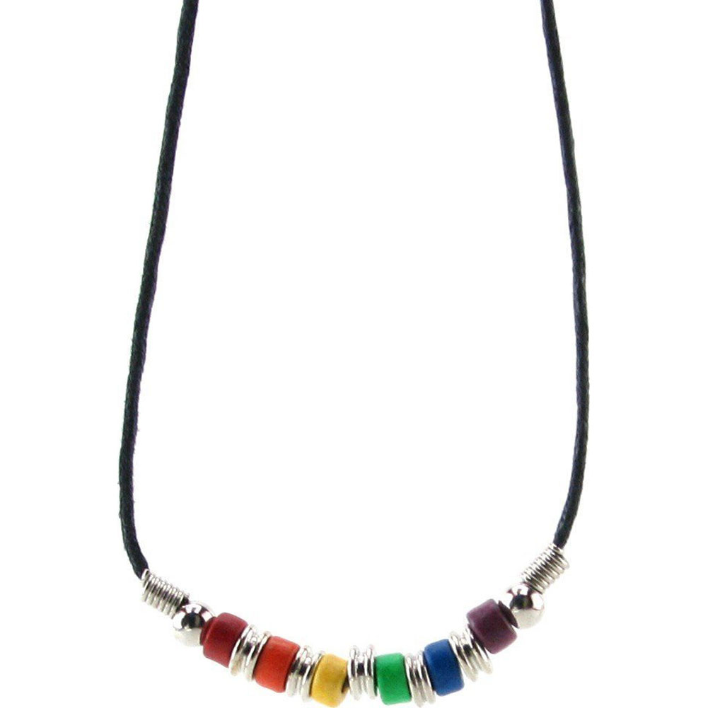 Gaysentials Rainbow Ceramic Beads Necklace - View #3