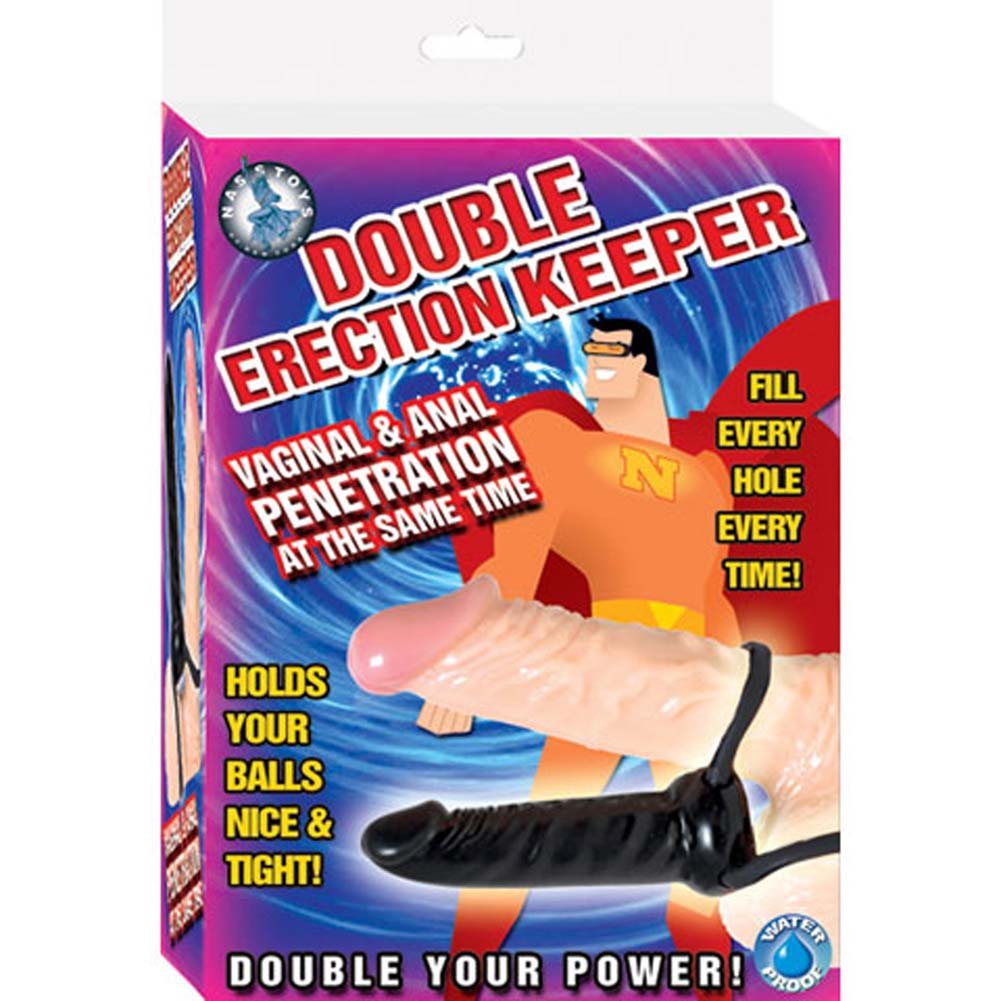 "Double Erection Keeper Waterproof Dildo 4.25"" Ebony - View #1"