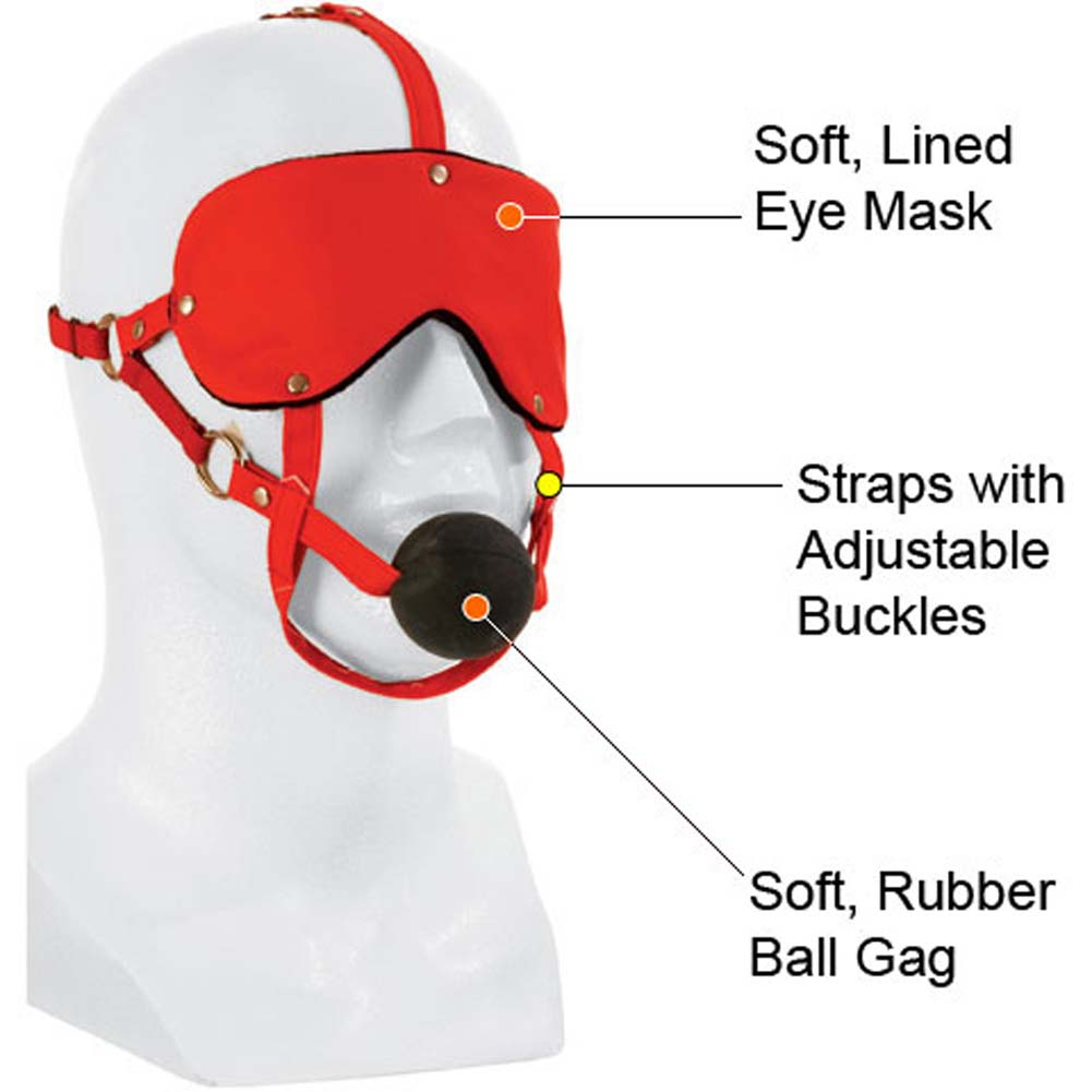Lovers Headgear Adjustable Eye Mask and Ball Gag Red - View #1