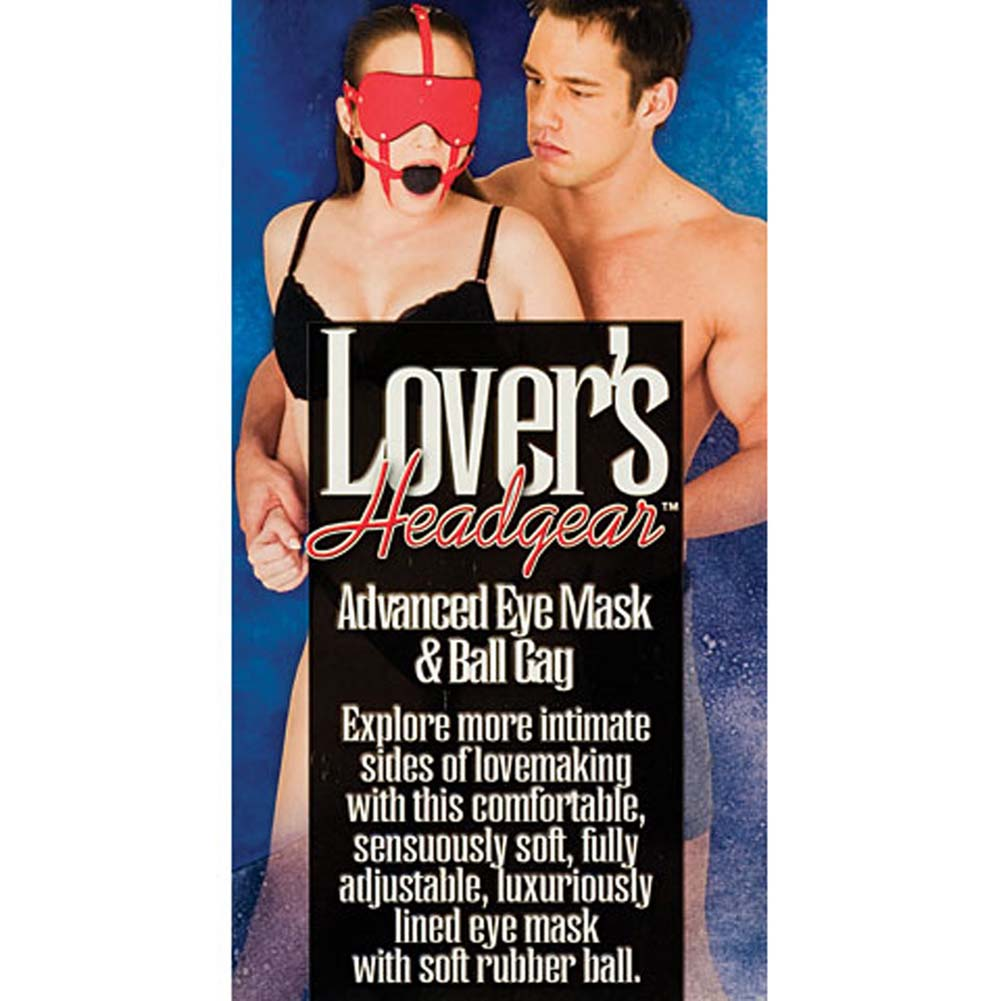 Lovers Headgear Adjustable Eye Mask and Ball Gag Red - View #3