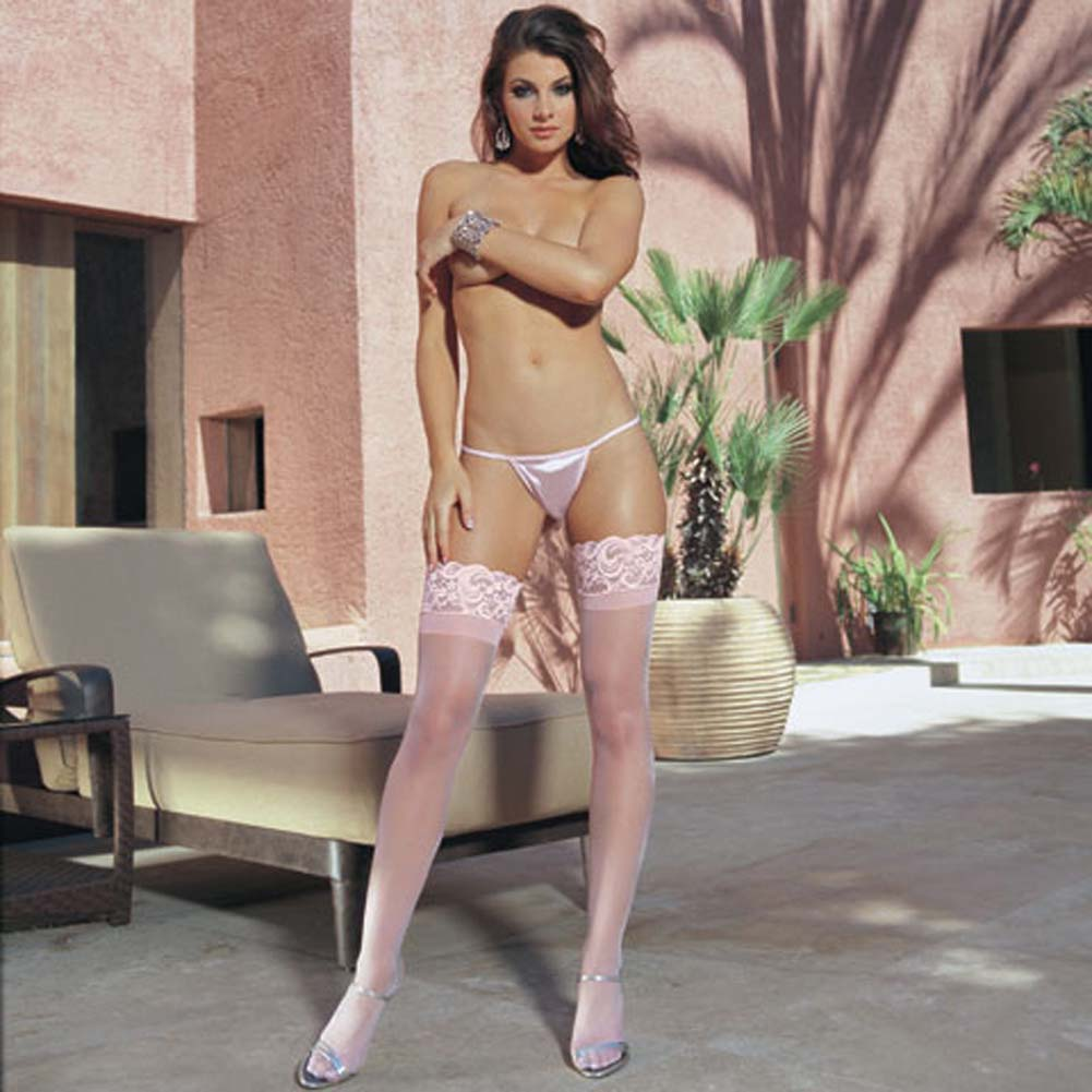 Sheer Thigh High with Silicone Lace Top Pink - View #1