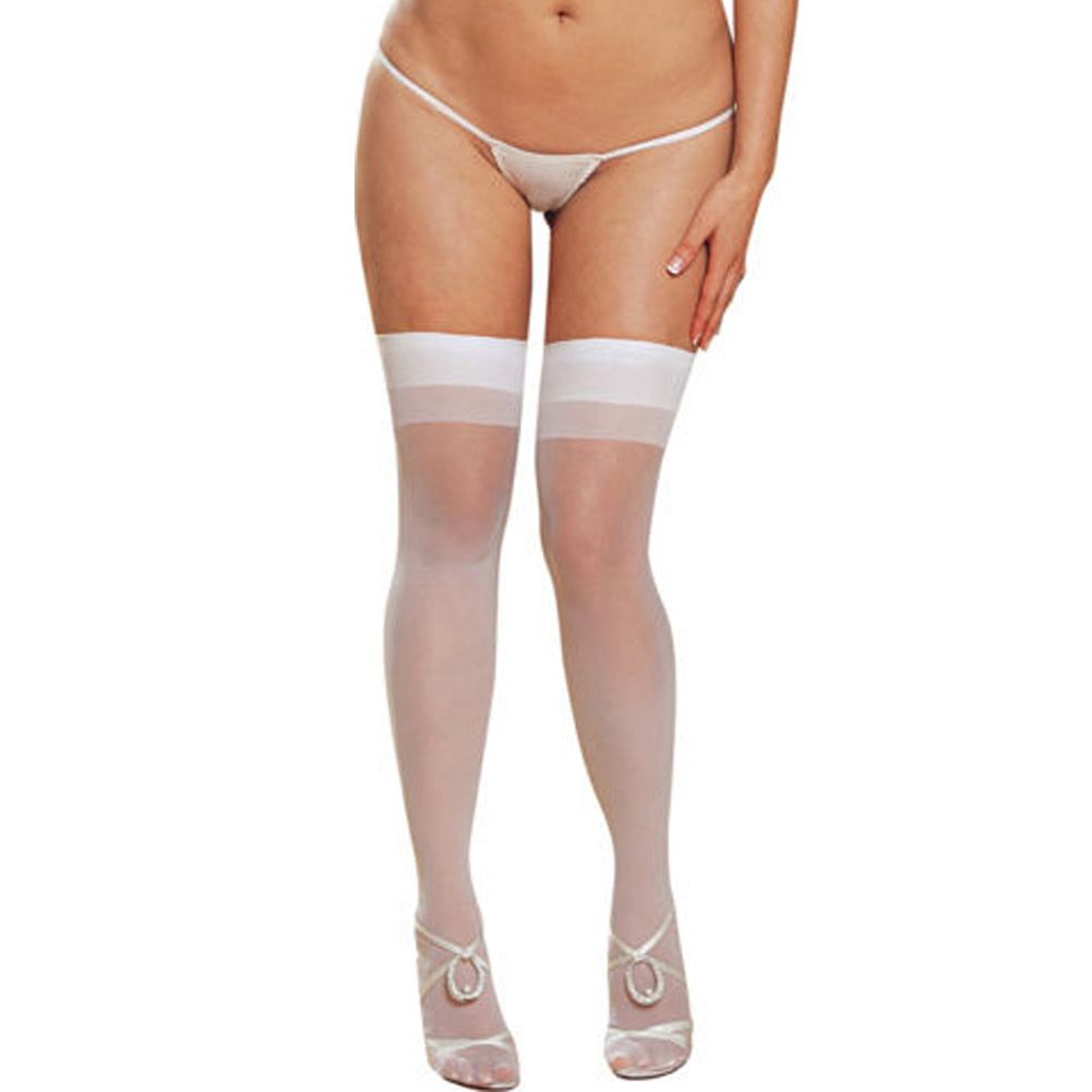 Dreamgirl Sheer Thigh High with Back Seam Plus Size White - View #2
