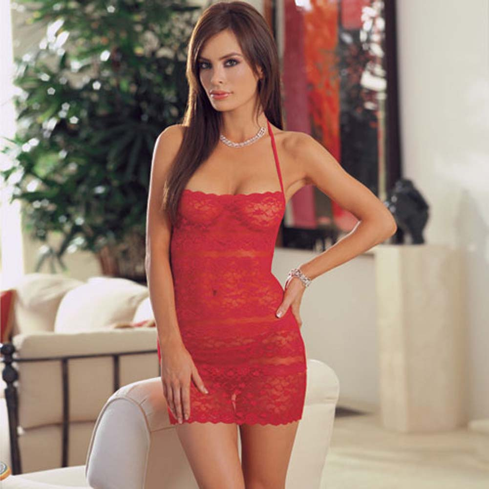 Lace Halter Babydoll with Thong Red - View #1
