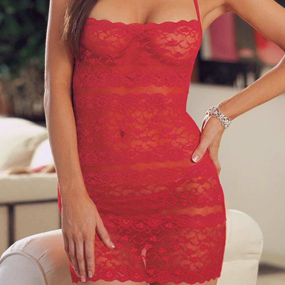 Lace Halter Babydoll with Thong Red - View #3