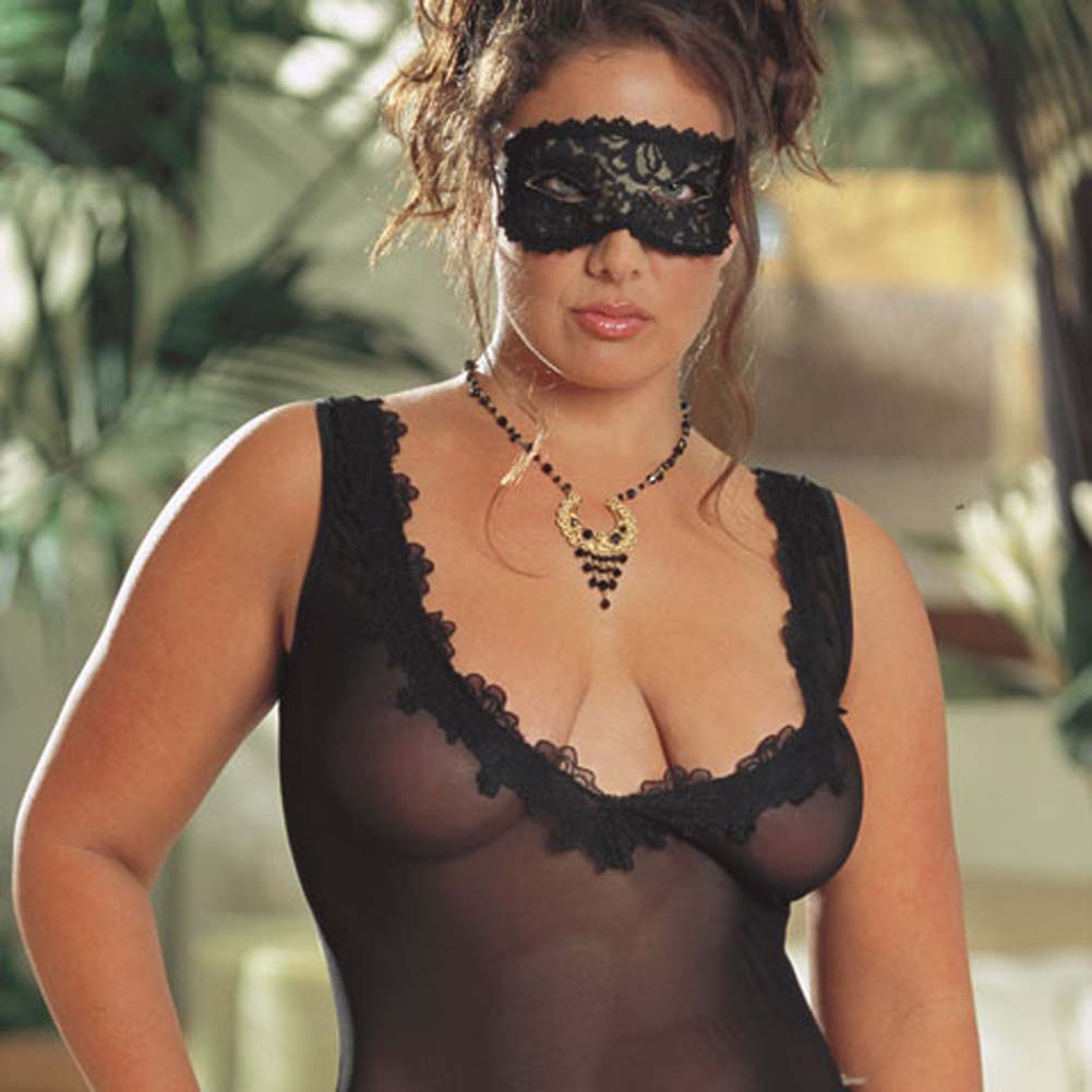 Midnight Masquerade Babydoll Set Black Plus Size - View #3