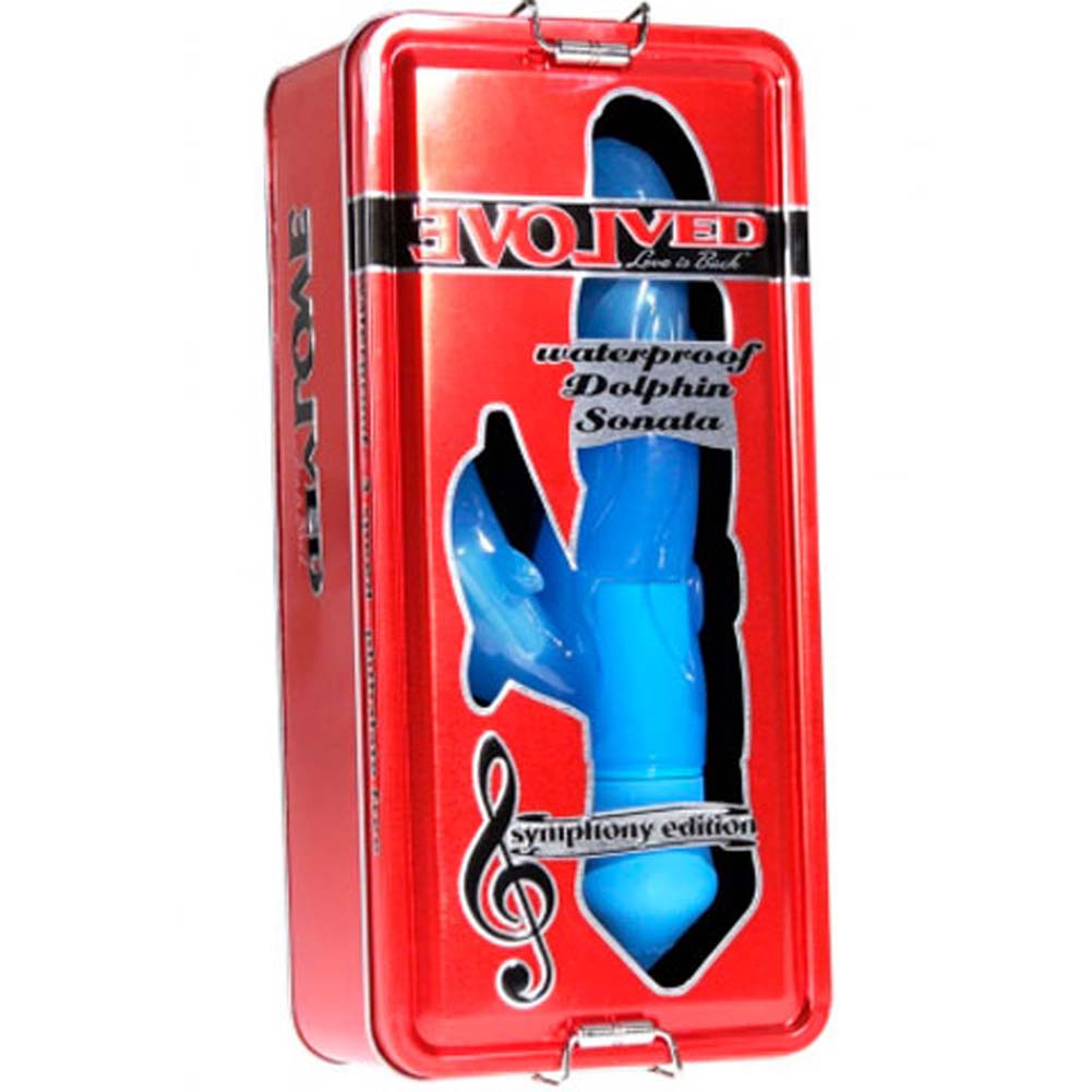 """Symphony Dolphin Sonata Dual Action Intimate Vibrator 8"""" Blue - View #1"""