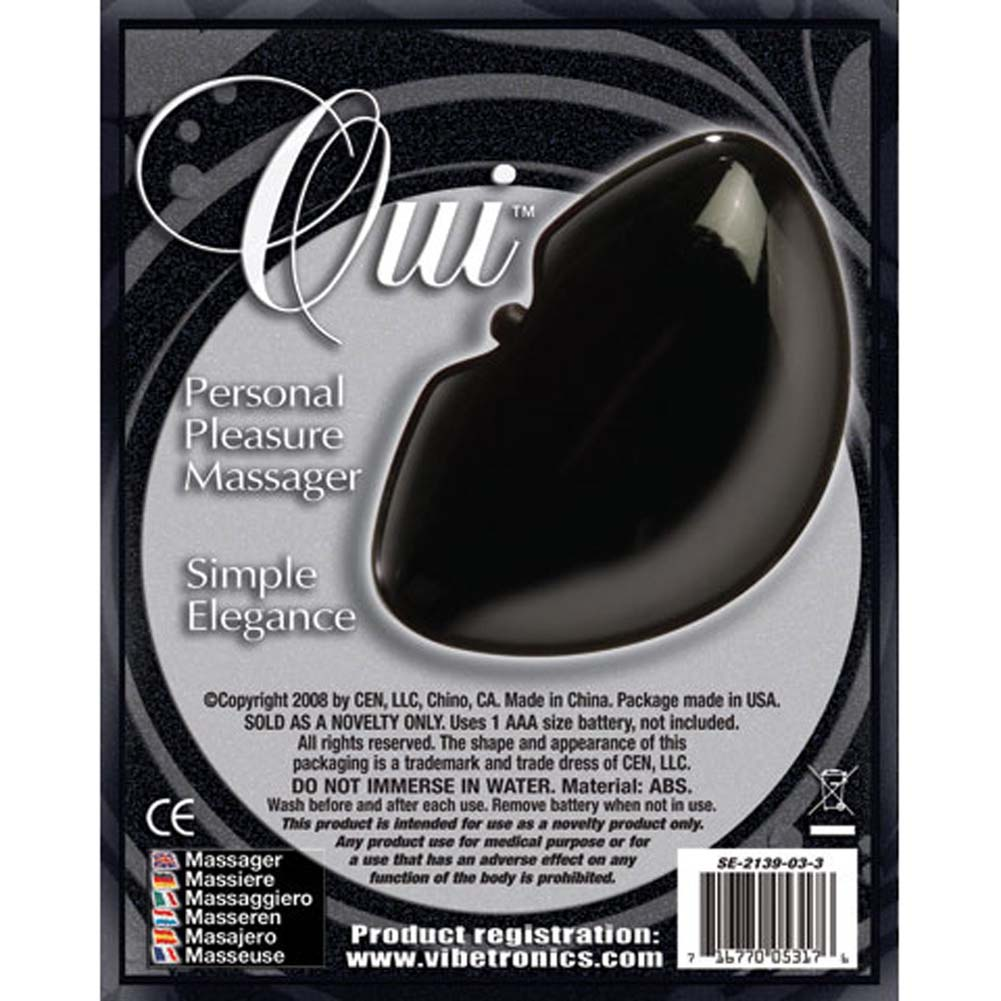 Oui Vibrating Massager Black with FREE Travel Pouch - View #2