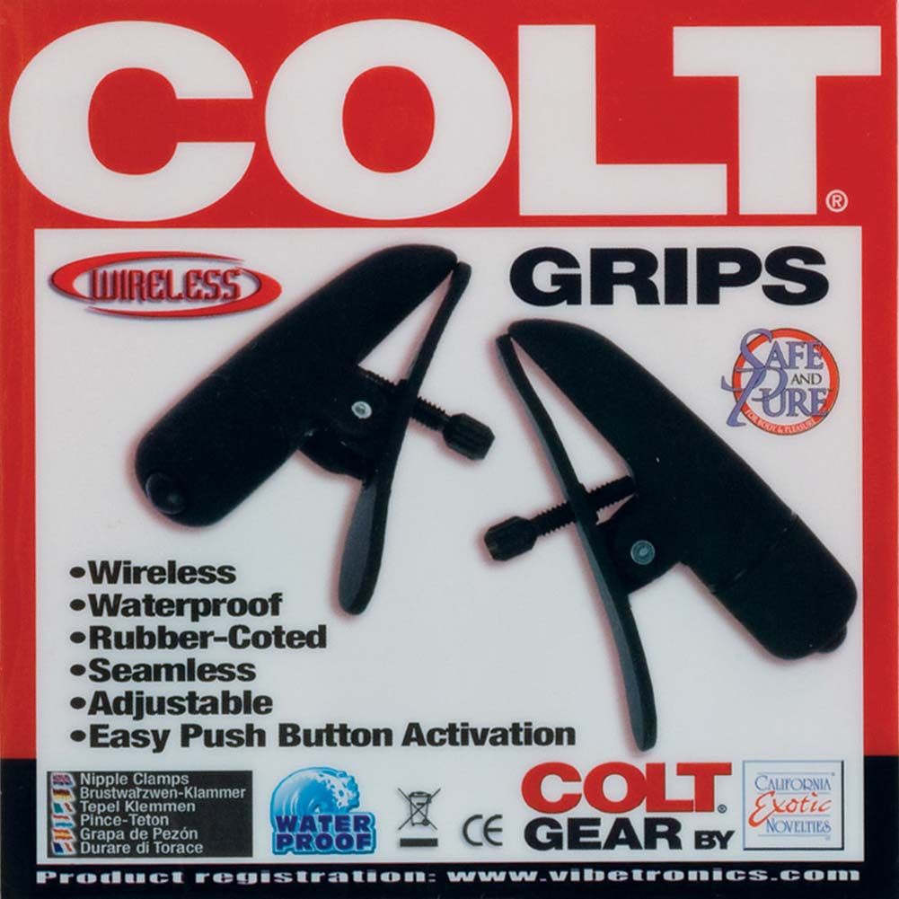 COLT Grips Wireless Adjustable Vibrating Nipple Clamps Black - View #1