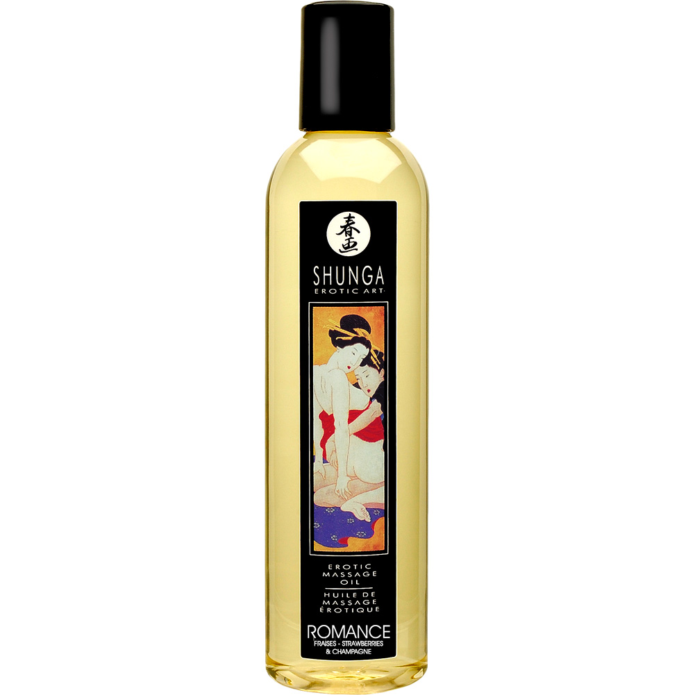 Shunga Erotic Art Massage Oil 8 Fl.Oz 250 mL Romance Strawberry Champagne - View #1