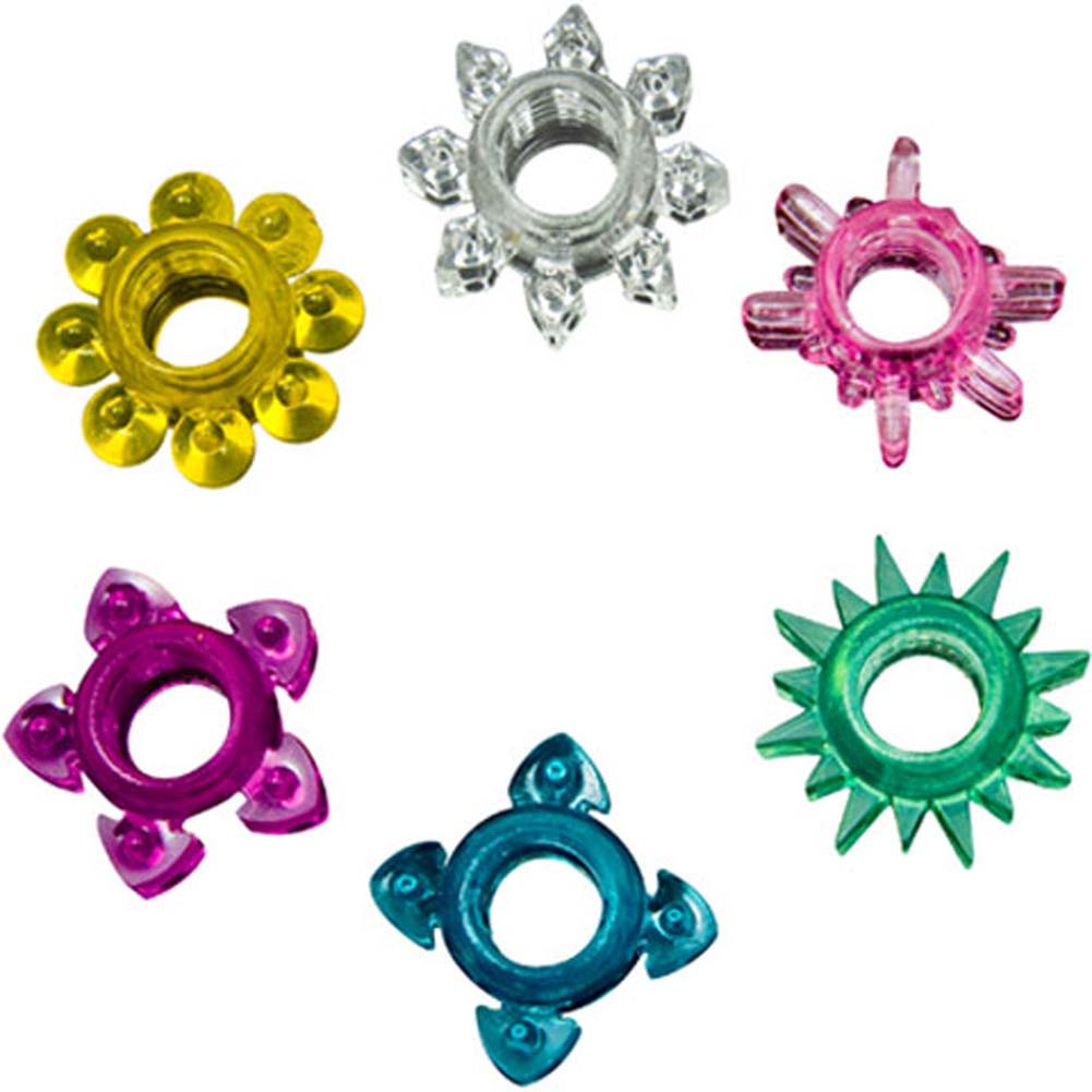 Doc Johnson Tower of Power 6 Cock Rings Assorted Colors - View #2
