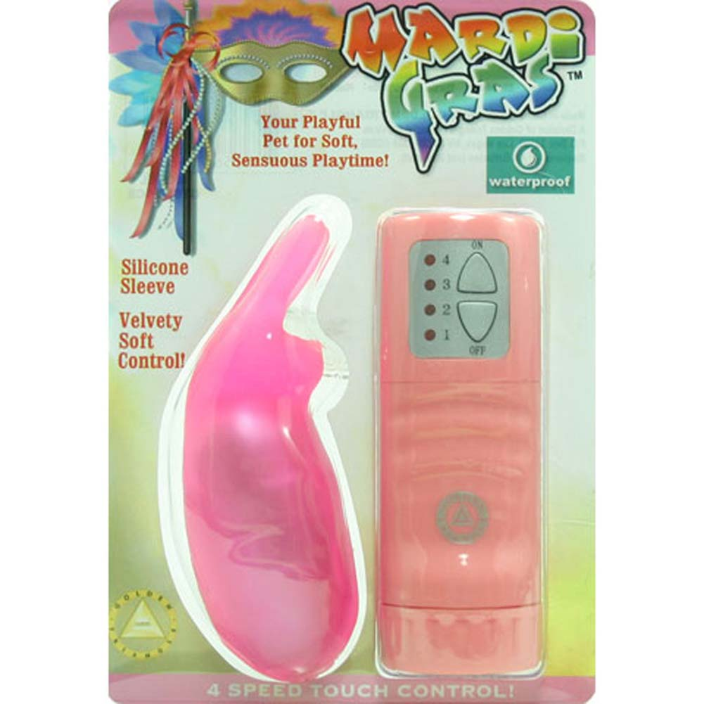 "Mardi Gras Waterproof Silicone Vibrating Rabbit 4"" Pink - View #1"