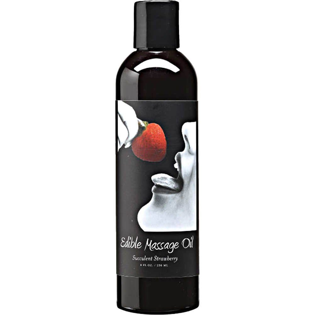 Earthly Body Edible Massage Oil 8 Fl.Oz 236 mL Succulent Strawberry - View #1