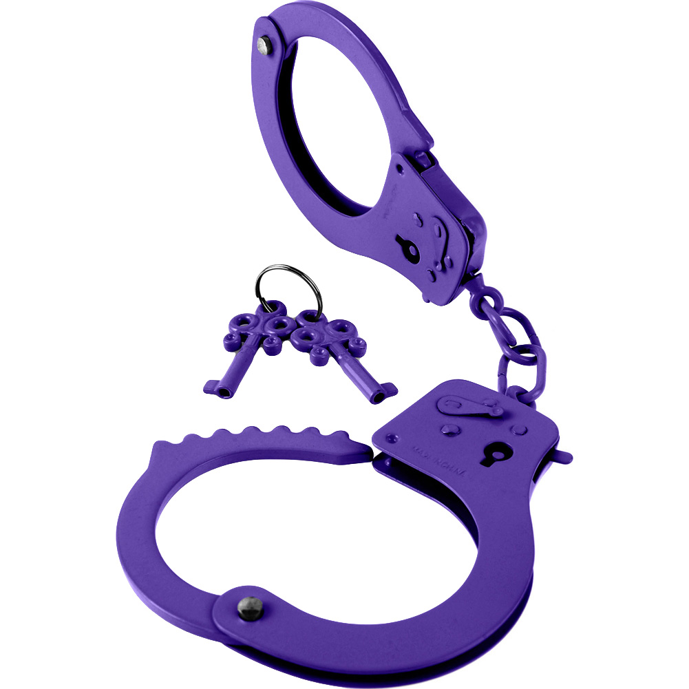 Fetish Fantasy Series Designer Metal Handcuffs Purple - View #2
