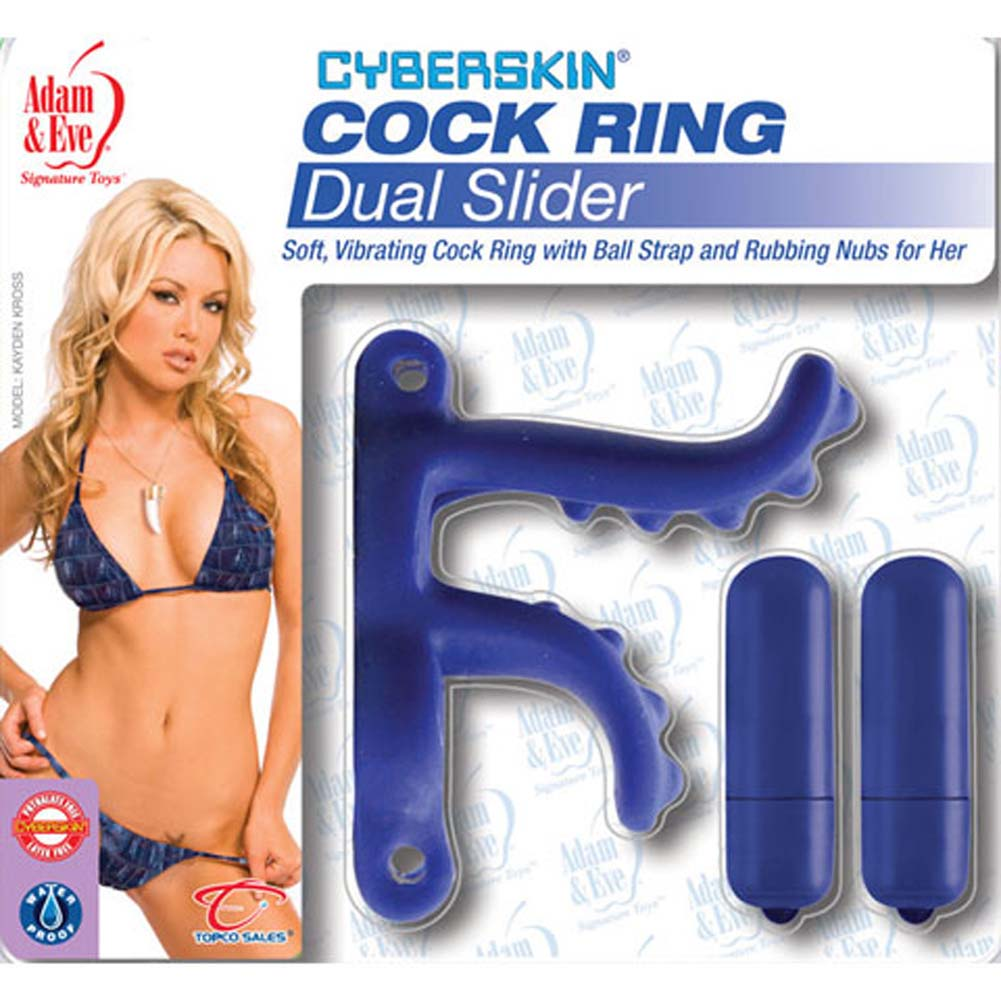 CyberSkin Dual Slider Waterproof Vibrating Cockring - View #2