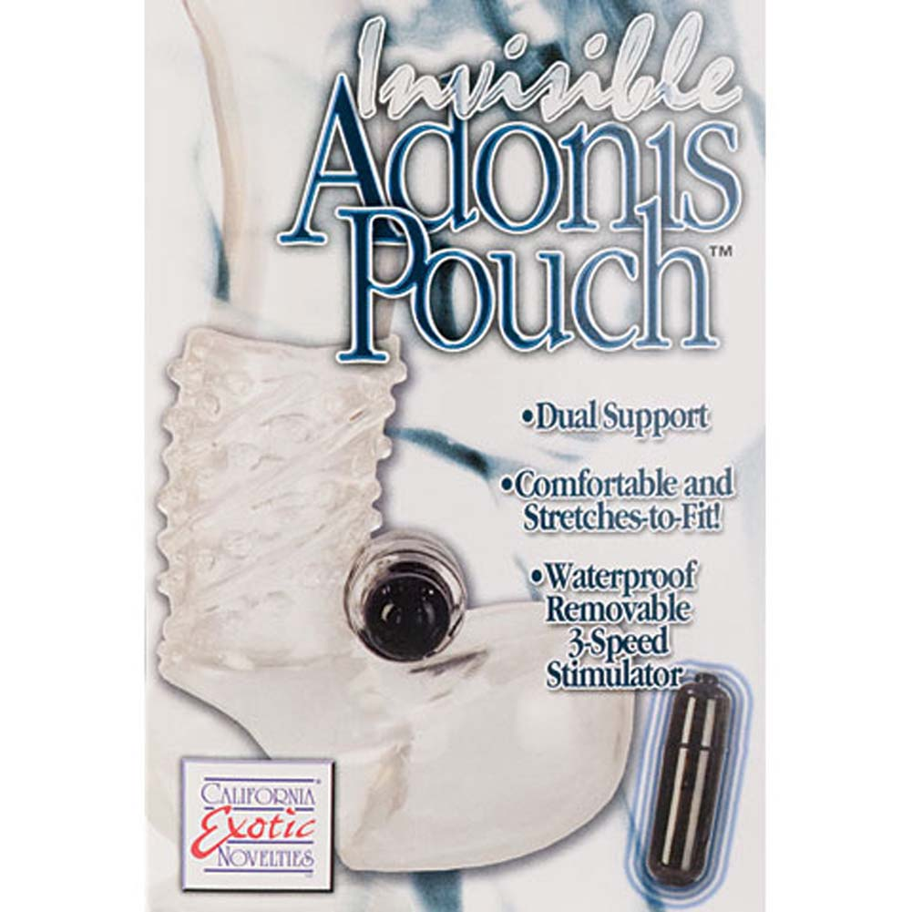 California Exotics Invisible Adonis Pouch Waterproof Vibrating Ring Clear - View #3