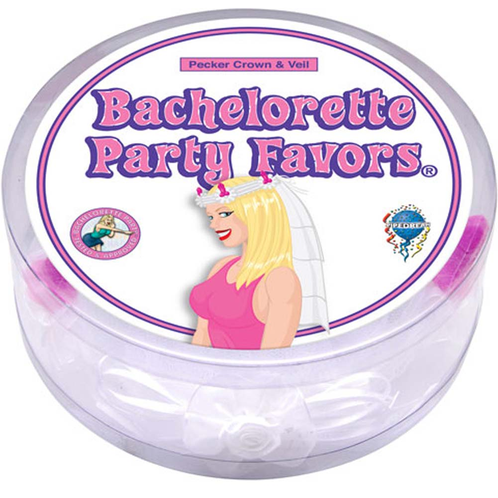 Bachelorette Party Favors Pecker Crown and Veil White - View #1
