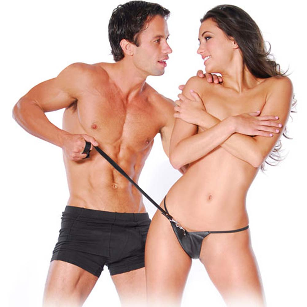 Fetish Fantasy Series Leather Panties and Leash Black - View #1