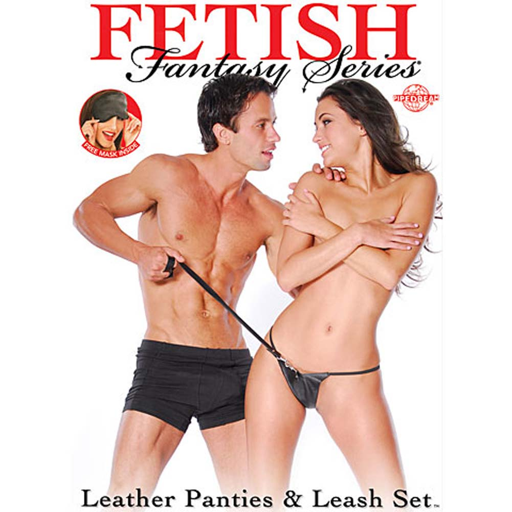 Fetish Fantasy Series Leather Panties and Leash Black - View #3
