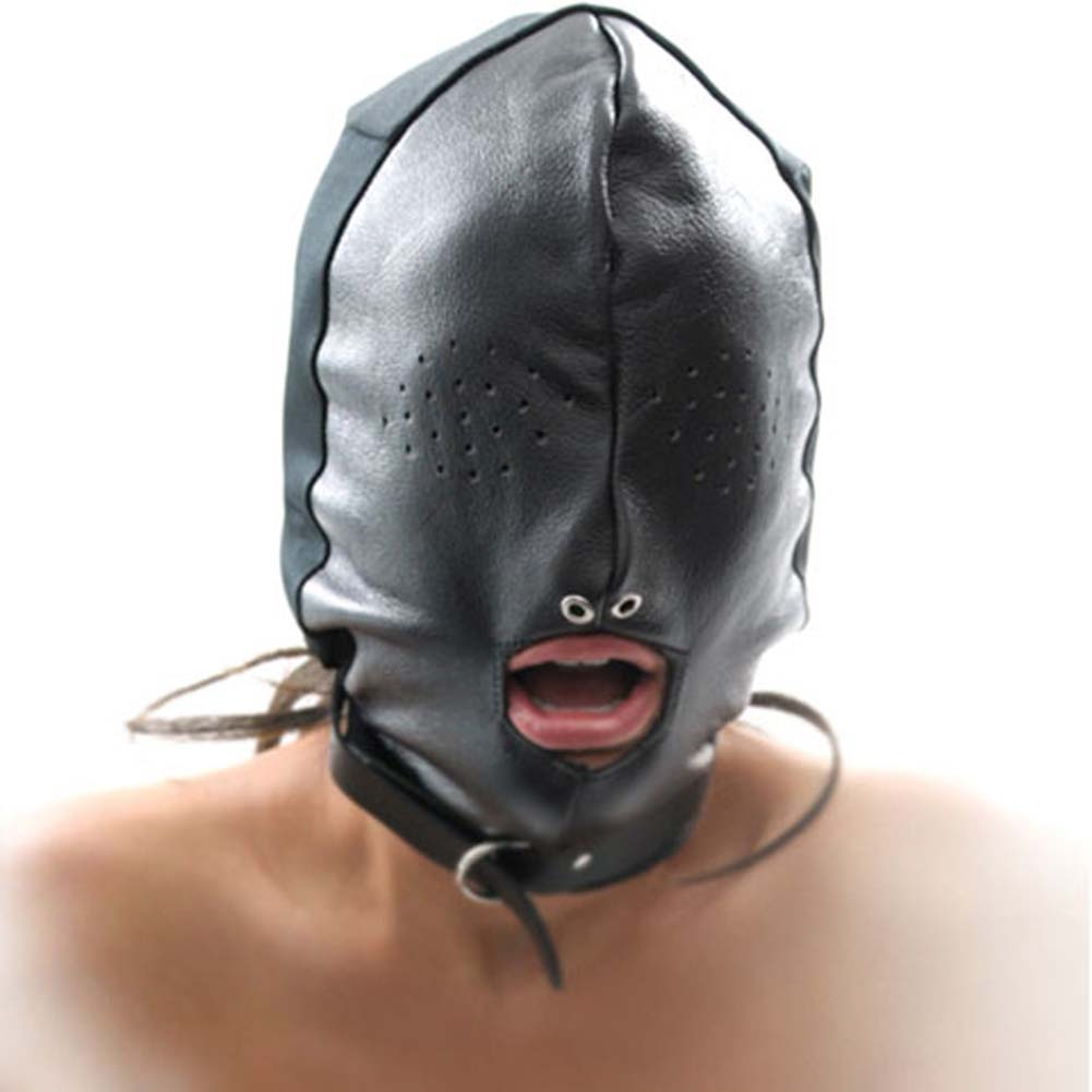 Fetish Fantasy Series Leather Breathable Hood Black - View #1