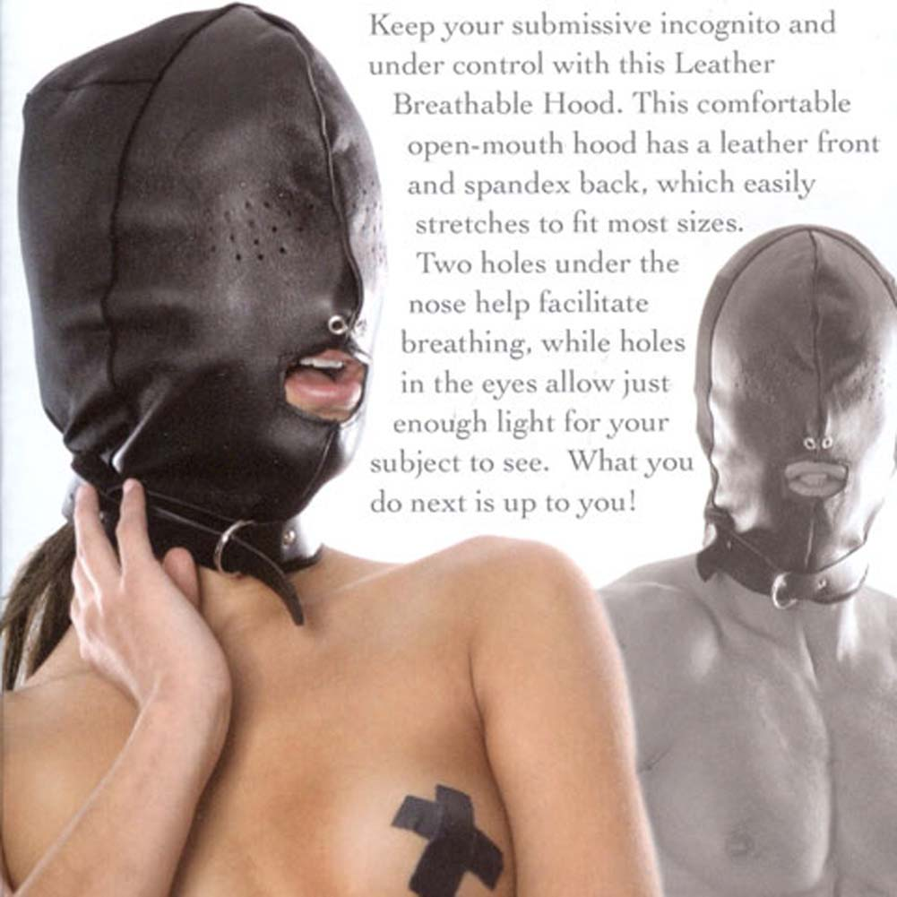 Fetish Fantasy Series Leather Breathable Hood Black - View #3