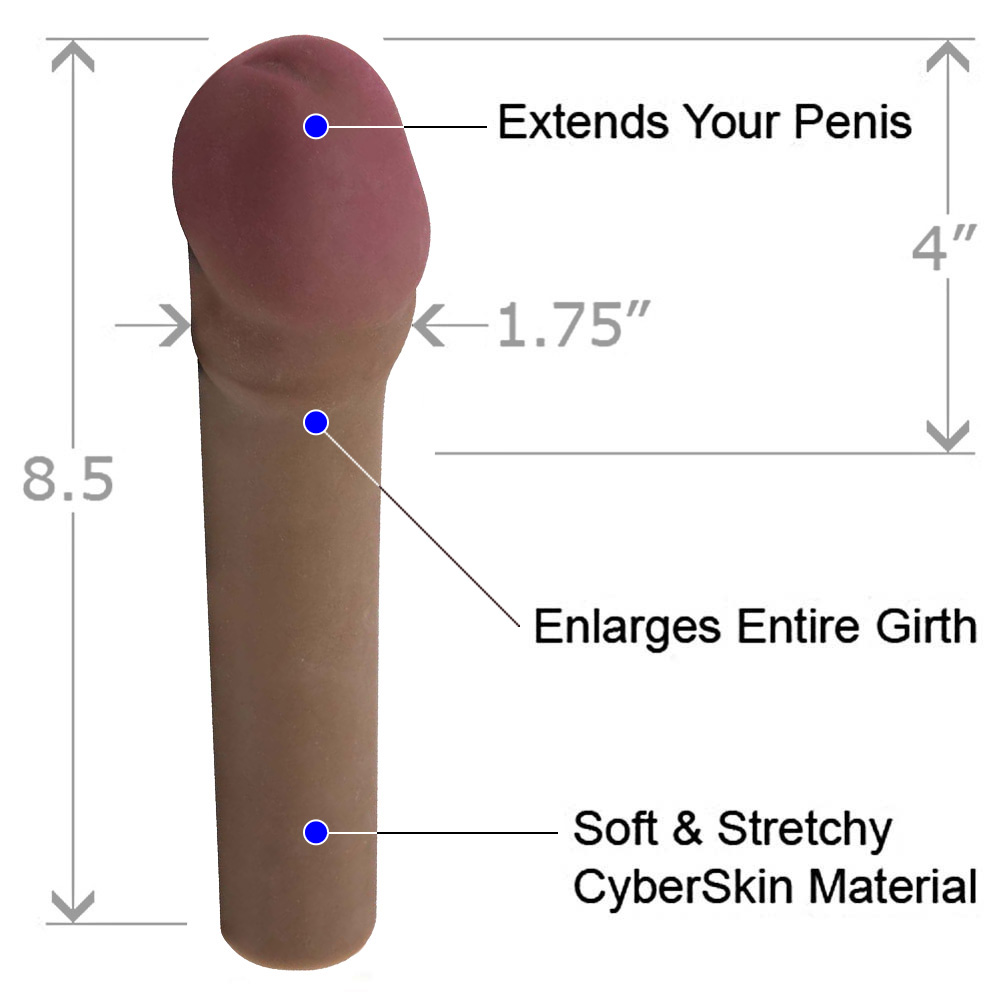 "CyberSkin Vibrating Transformer 2"" Penis Extension Cinnamon - View #1"