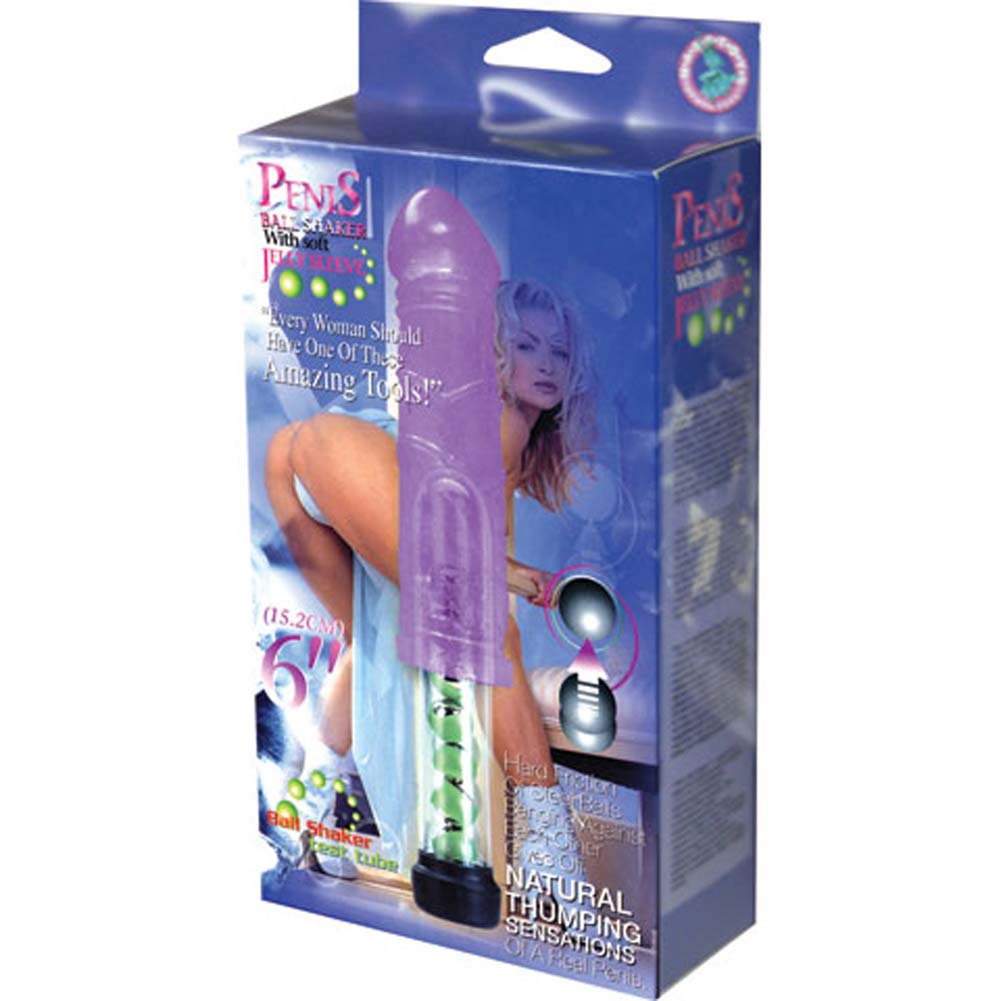 "Penis Ball Shaker with Soft Jelly Sleeve Vibe 6"" Purple - View #3"