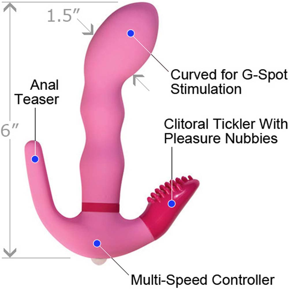 "SheVibe G-Spot Three Point Female Stimulator 6"" Sensual Pink - View #1"