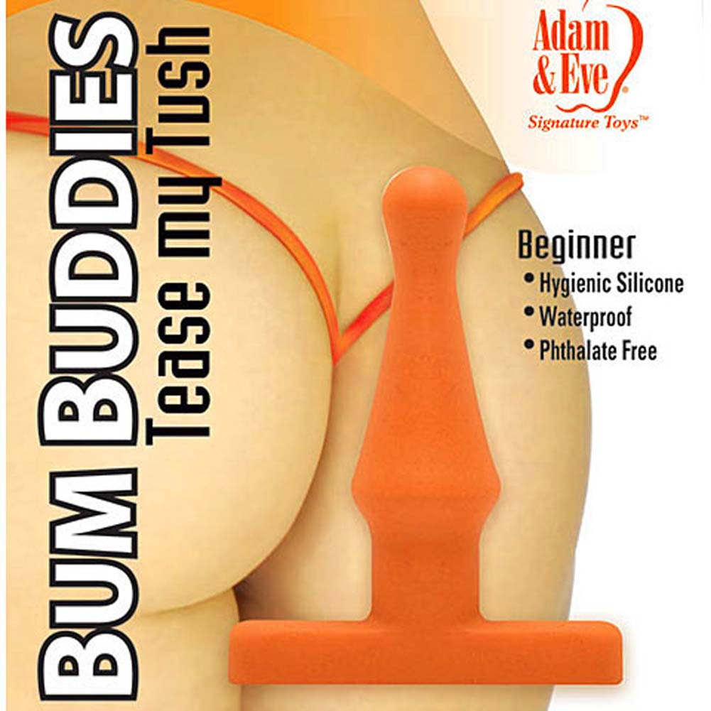 "Bum Buddies Tease My Tush Silicone Butt Plug 4"" Orange - View #2"