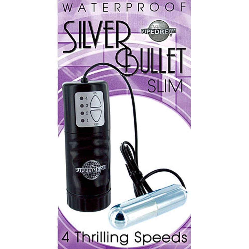 Waterproof Silver Slim Vibrating Bullet - View #1