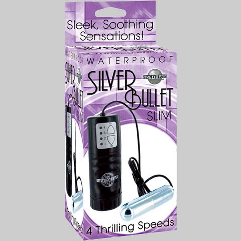 Waterproof Silver Slim Vibrating Bullet - View #3