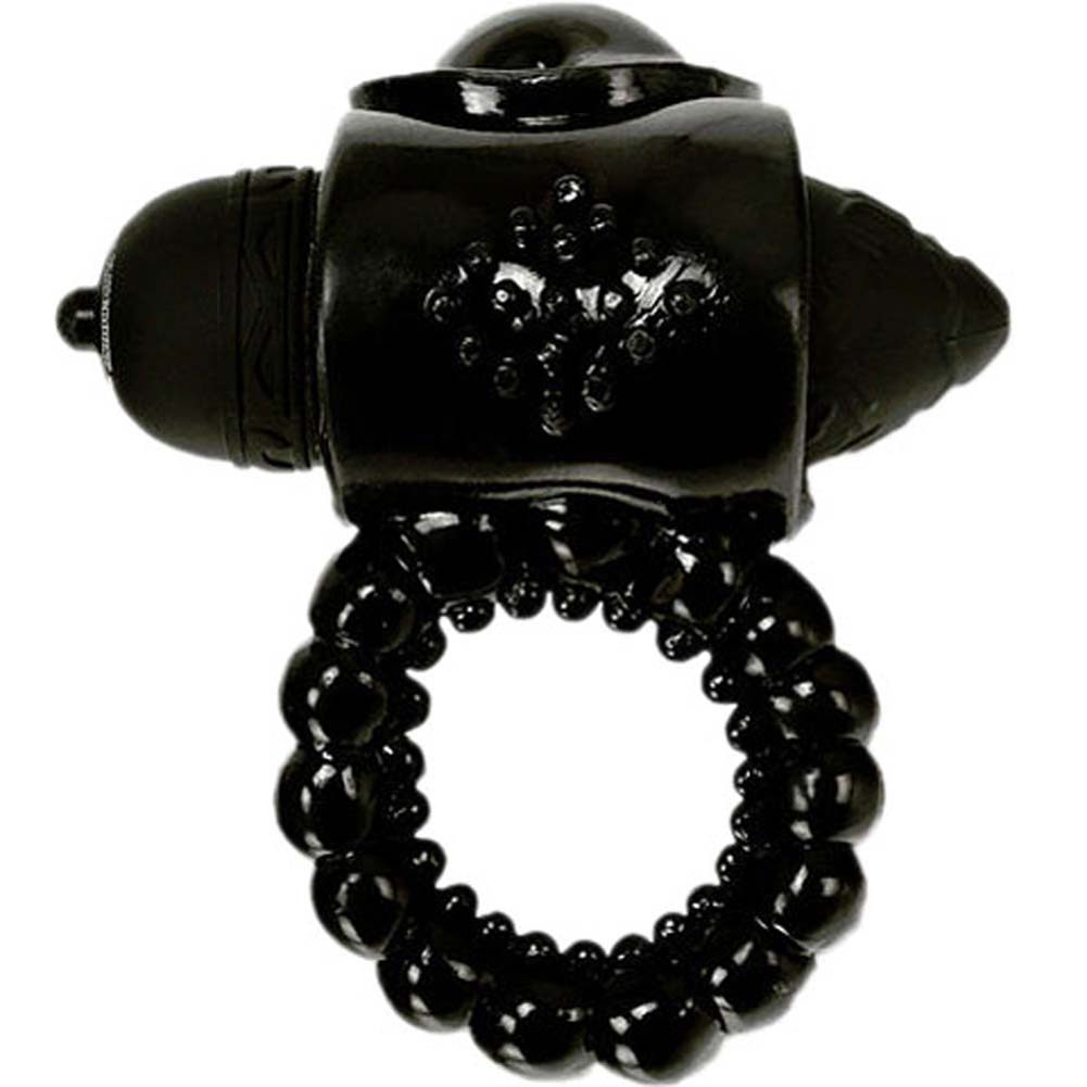 Janines Pleasure Black Ring with Black Vibrating Bullet - View #2