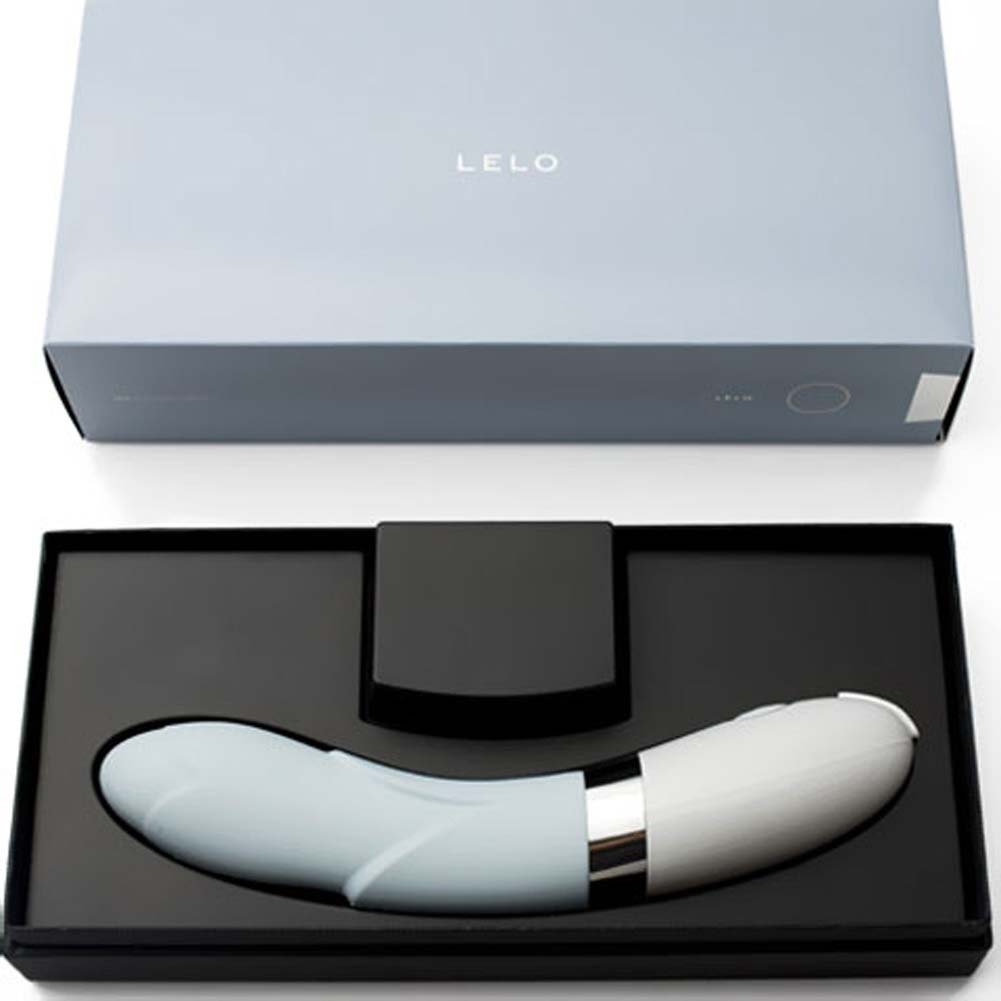 "Lelo Iris G-Spot Rechargeable Silicone Intimate Massager 8"" Soft Blue - View #4"