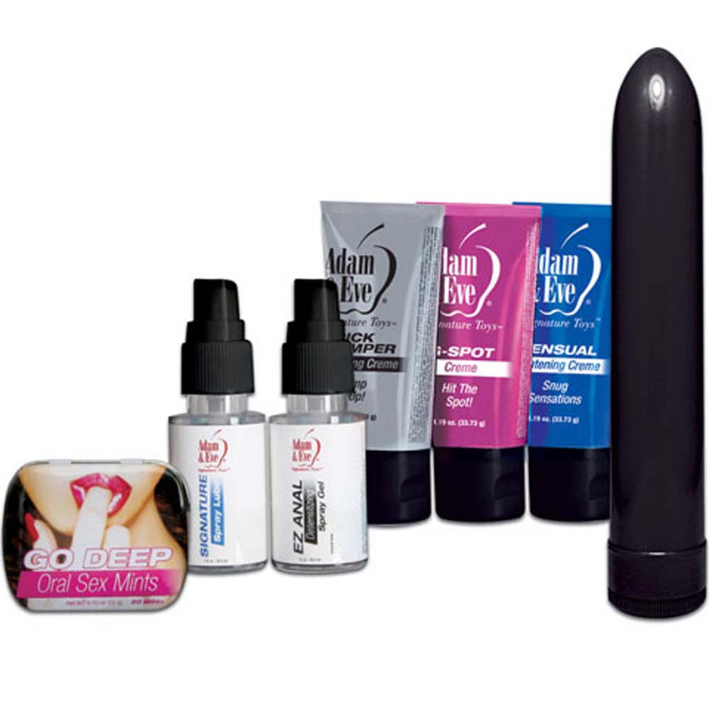 "Adam and Eve Sensual Sampler Kit with Vibe 7.5"" Black - View #1"