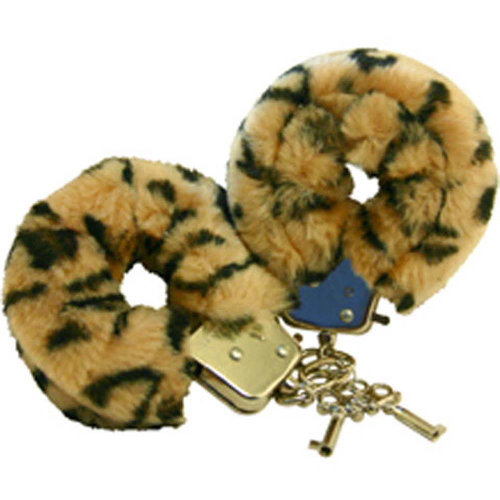 Faux Fur Love Cuffs for Intimate Lovers Plush Leopard - View #2