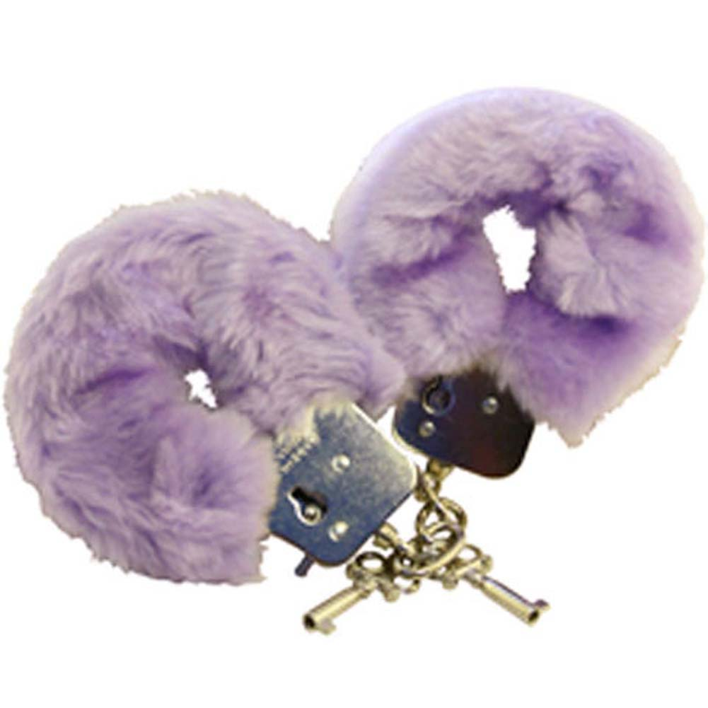 Faux Fur Love Cuffs for Intimate Lovers Plush Lavender - View #2