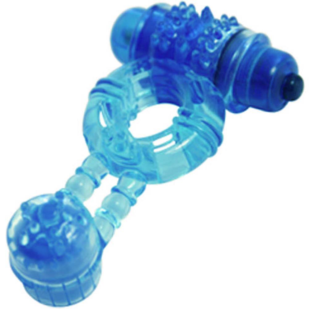 Climax Gems Blue Mood Waterproof Vibrating Jelly Ring - View #2