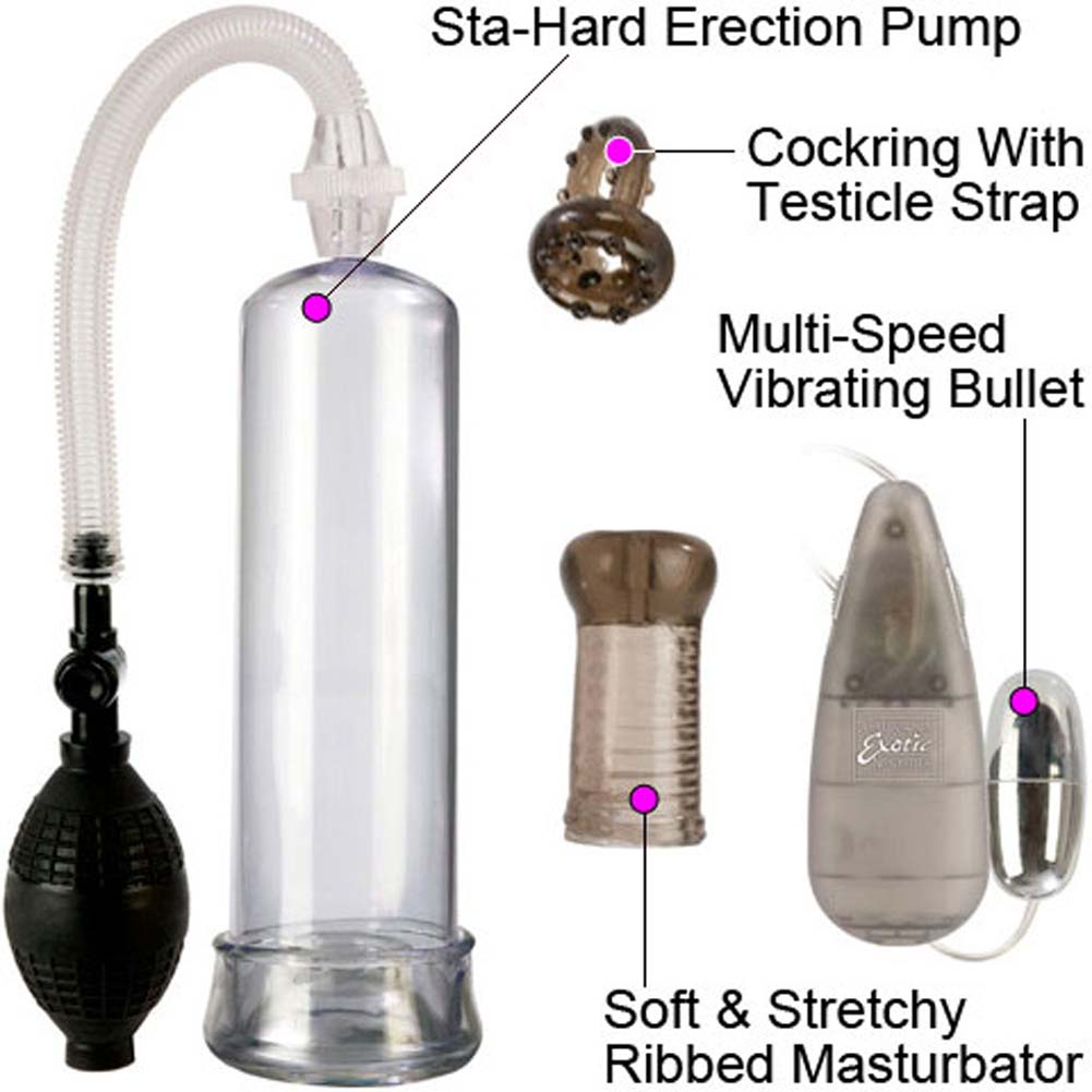 Sta Hard Erection Pump Set with Vibe Stroker and Ring - View #1