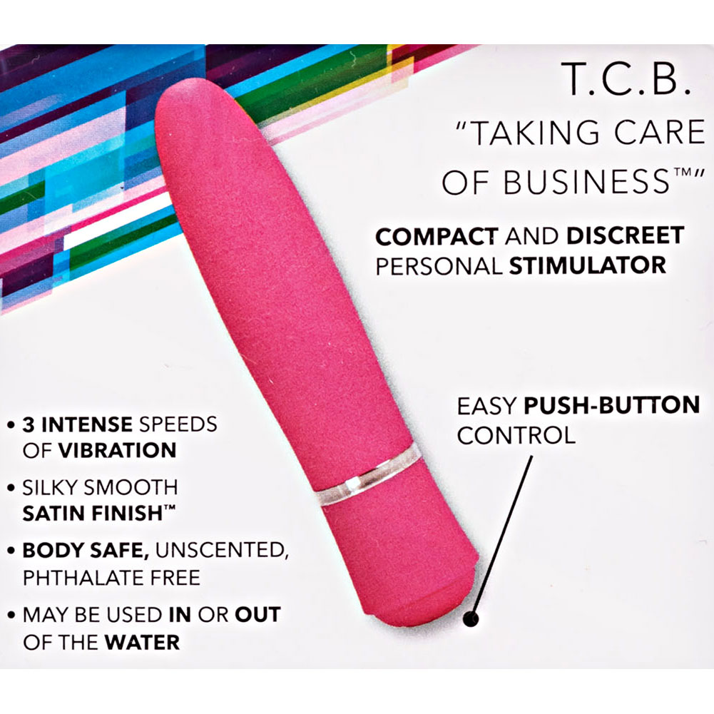 "California Exotics TCB Taking Care of Business Waterproof Vibrator 4"" Pink - View #1"
