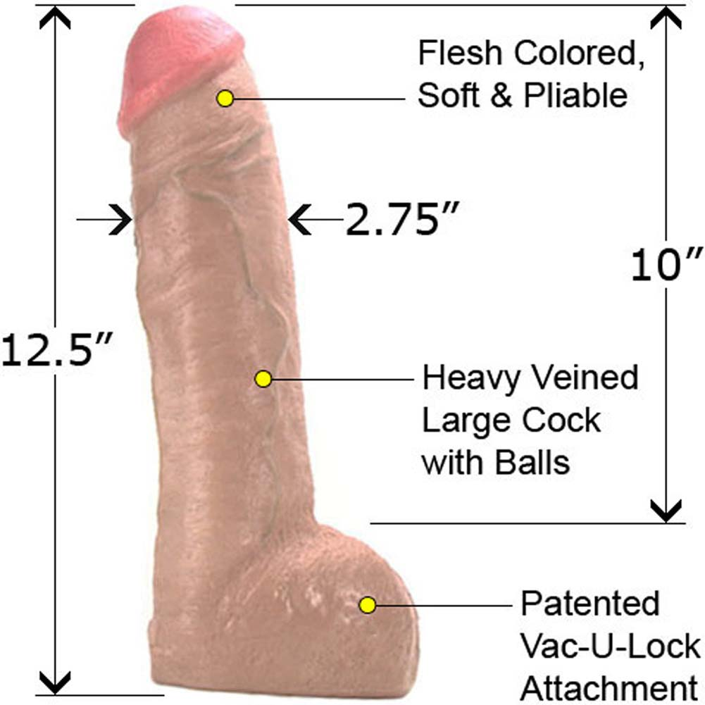 Vac-U-Lock Hung Realistic Dildo with Balls 12.5 In Natural - View #1
