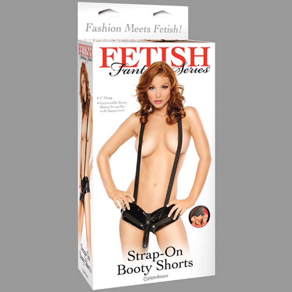 Fetish Fantasy Series Strap-On Booty Shorts with Suspenders - View #4