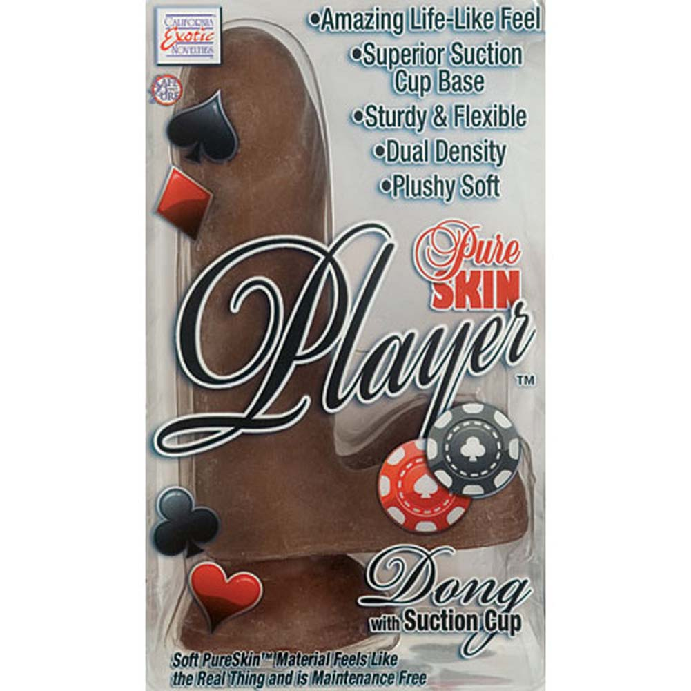 "California Exotics Pure Skin Player Dong with Suction Cup 6.75"" Brown - View #4"