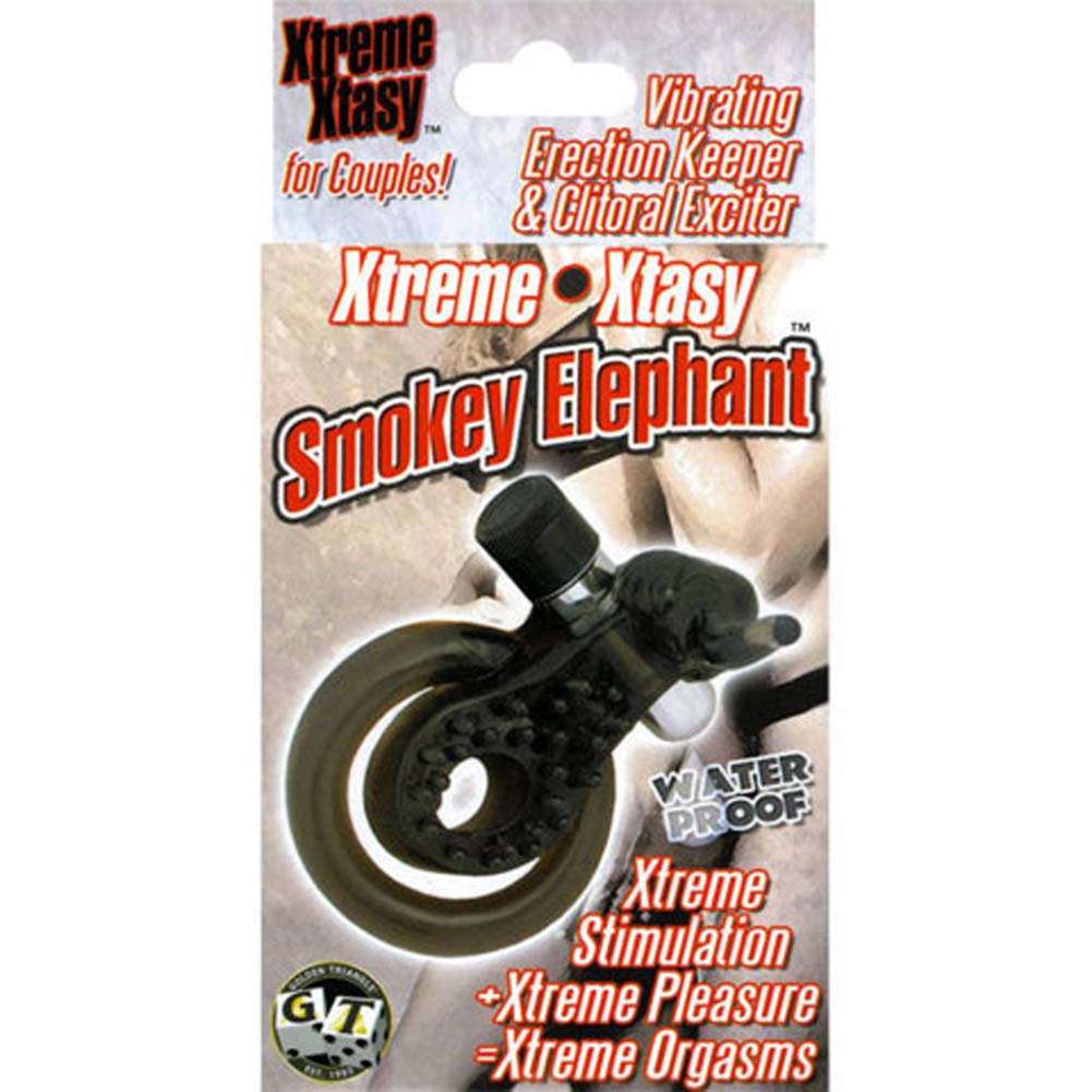 Xtreme Xtasy Vibrating Silicone Cockring Black Elephant - View #1
