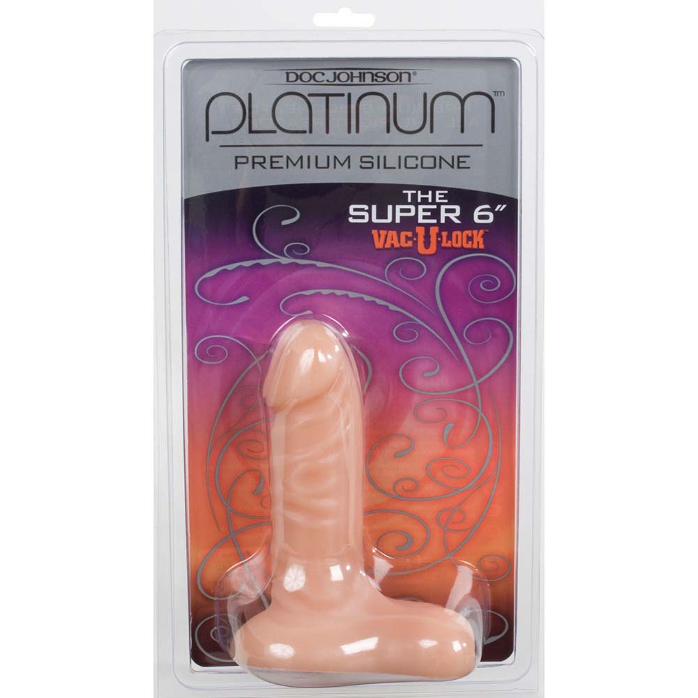 "Platinum Premium Silicone Super 6"" Vac-U-Lock Dong Natural - View #3"