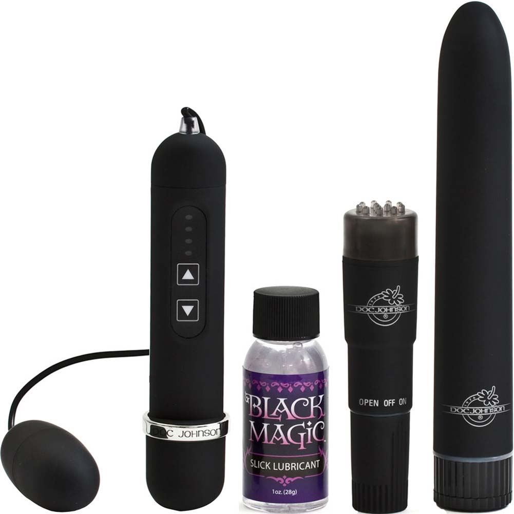 Black Magic Waterproof Vibrating Pleasure Kit Black - View #3